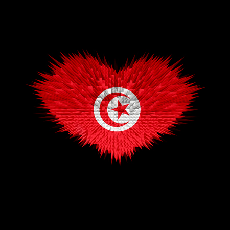 The Heart of Tunisia Flag abstract background. Stock Photo