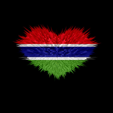 gambia: The Heart of Gambia Flag abstract background. Stock Photo