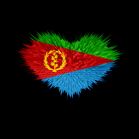 The Heart of Eritrea Flag abstract background. Stock Photo