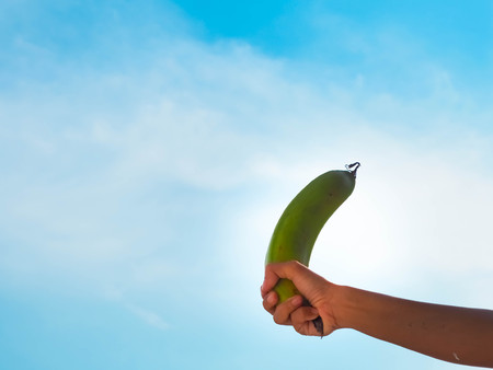Hold The one of banana with sky background. Stock fotó