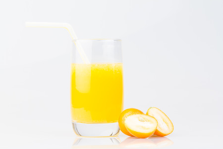 Closeup a cup of juice