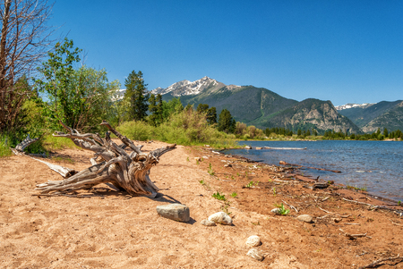 lake dillon: Sandy shore at Lake Dillon in the Colorado Mountains