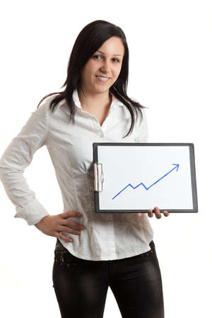 a young woman holding a chart indicatin growth Stock Photo