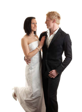 a young couple posing isolated on white Stock Photo