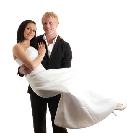 a young man carrying a young woman isolated on white photo