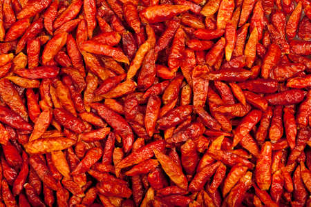 some red eye chili peppers forming a background pattern photo