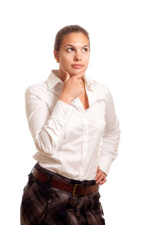 a young businesswoman posing thoughtful looking to the corner