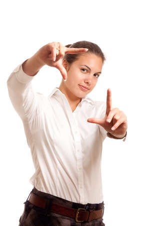 a young businesswoman framing her face with her hands