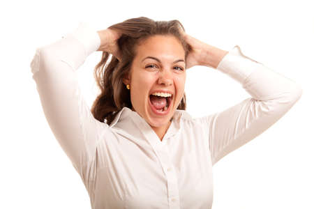a young woman posing stressed going crazy