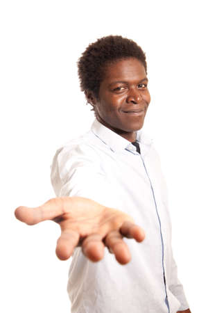 a black young showing his hand offering help