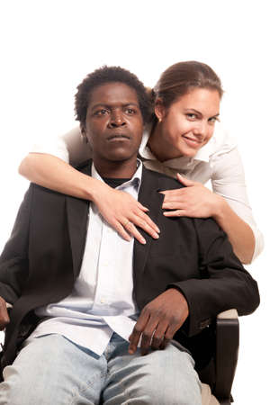 fellow: young man beeing seduced by a fellow coworker Stock Photo