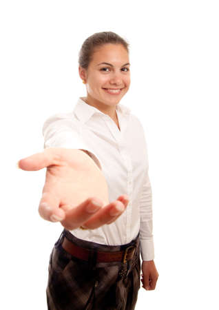 a young businesswoman showing her hand offering help Stock Photo