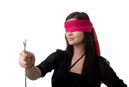 a young blindfolded woman holding a network cable