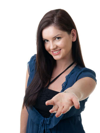 a young woman offering a hand for help Stock Photo