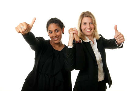 a young team of businesswomen showing thumb up
