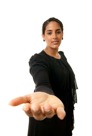 helpfulness: a young indian woman offering her hand for help