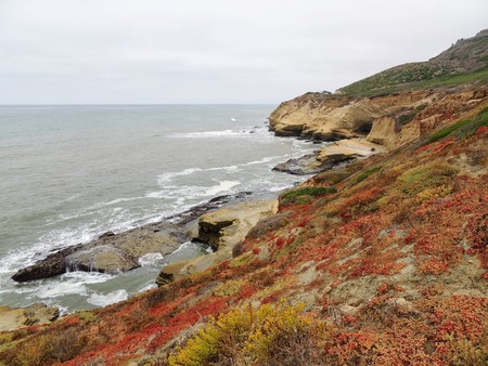Panoramic picture at Cabrillo National Monument bluffs and tidepools. Coastal bluffs and tidepools are found along Point Loma peninsula in San Diego, USA Stock Photo