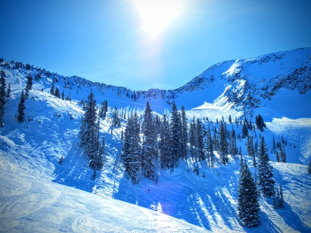 Winter Panoramic view of the back of the Wasatch Mountains Utah from the top of Brighton Ski Resort in the Rocky