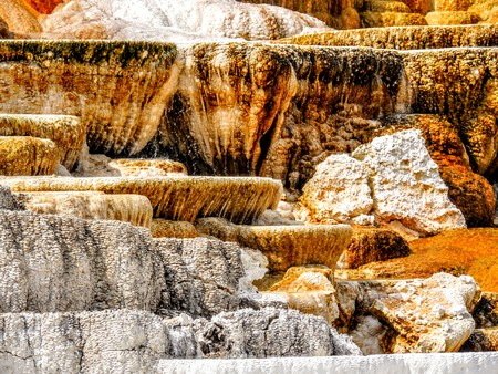 Varied Hot Spring Thermal Colors - Mammoth Hot Springs is Yellowstones only major thermal area located well outside the Caldera. The terraces change constantly--sometimes noticeable within a day Stock Photo