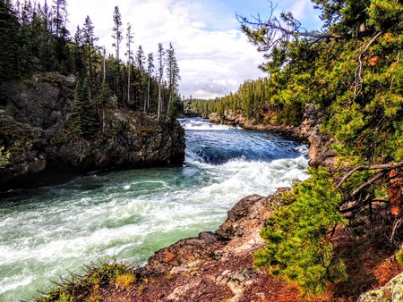 Upper Falls, Yellowstone River, Yellowstone National Park, Wyoming, United States of America from walkway 写真素材