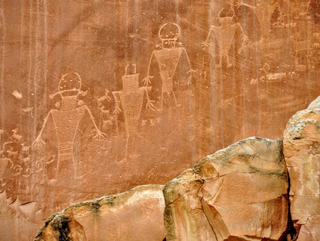 Native American Indian Fremont Petroglyphs on Sandstone Mountain Capitol Reef National Park Torrey Utah, United States of America