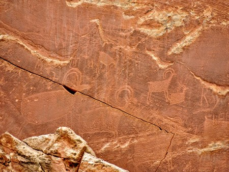 Native American Indian Fremont Petroglyphs on Sandstone Mountain Capitol Reef National Park Torrey Utah, United States of America
