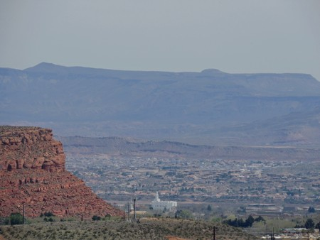 Desert and city panoramic views from hiking trails around St. George Utah around Beck Hill, Chuckwalla, Turtle Wall, Paradise Rim, and Halfway Wash trails in Western USA Stock Photo