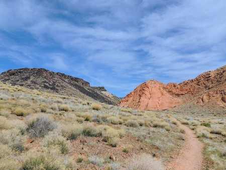 Views of sandstone and lava rock mountains and desert plants around the Red Cliffs National Conservation Area on the Yellow Knolls hiking trail located in southwest Utah, north of St. George at the northeastern-most edge of the Mojave Desert. Stock Photo