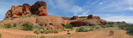Desert panoramic Views from hiking trails around St. George Utah around Beck Hill, Chuckwalla, Turtle Wall, Paradise Rim, and Halfway Wash trails, in Western USA Stock Photo