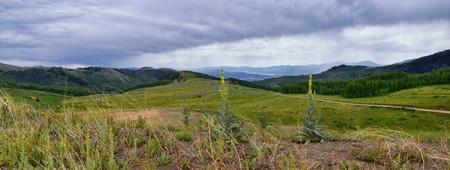 Guardsman Pass views of Panoramic Landscape of the Pass, Midway and Heber Valley along the Wasatch Front Rocky Mountains, Summer Forests, Clouds and Rainstorm. Utah, United States. Stock Photo