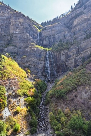 Bridal Veil Falls is a 607-foot-tall (185 meters) double cataract waterfall in the south end of Provo Canyon, close to Highway US189 in Utah, United States, America
