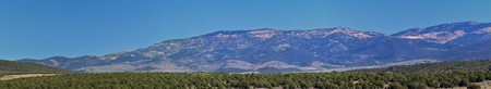 Utah Rocky Mountain Wasatch Panoramic Landscapes by Fishlake National Forest, along Interstate 15 I-15, through Holden, Fillmore, Beaver, Scipio and Parowan Utah, USA. Stock Photo