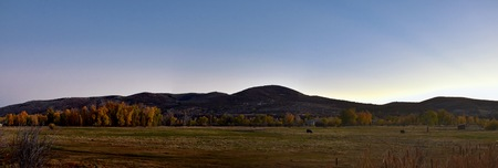 Panoramic Landscape view from Kamas and Samak off Utah Highway 150, view of backside of Mount Timpanogos near Jordanelle Reservoir in the Wasatch back Rocky Mountains, and Cloudscape. America.
