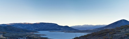 Panoramic Landscape view Jordanelle Reservoir off Utah Highway 248, in the Wasatch back Rocky Mountains, and Cloudscape. America.