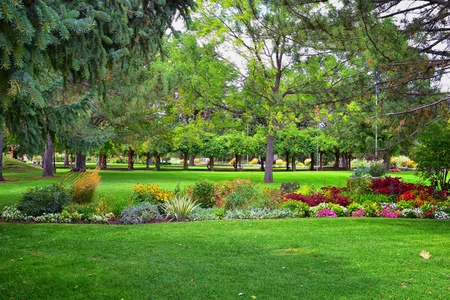 Views from the International Peace Gardens which is a botanical garden located in Jordan Park in Salt Lake City, Utah which was conceived in 1939 and dedicated in 1952. United States. Standard-Bild