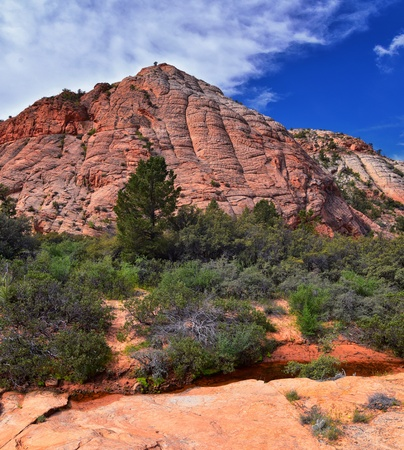 Views from the Lower Sand Cove trail to the Vortex formation, by Snow Canyon State Park in the Red Cliffs National Conservation Area, by Gunlock and St George, Utah, United States. Stock Photo