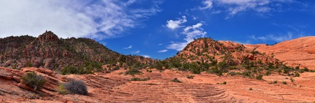 Views from the Lower Sand Cove trail to the Vortex formation, by Snow Canyon State Park in the Red Cliffs National Conservation Area, by Gunlock and St George, Utah, United States. 写真素材 - 122378483