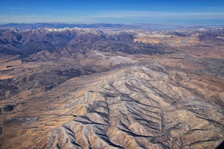 Rocky Mountains, Oquirrh range aerial views, Wasatch Front Rock from airplane. South Jordan, West Valley, Magna and Herriman, by the Great Salt Lake Utah. United States of America. USA. 写真素材