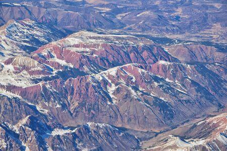 Colorado Rocky Mountains Aerial panoramiczne widoki z samolotu abstrakcyjnych Krajobrazy, szczyty, kaniony i miast wiejskich w południowo-zachodniej Kolorado i Utah. Stany Zjednoczone Ameryki. USA.