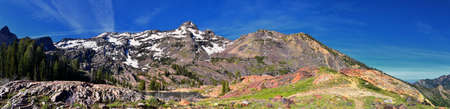 Lake Blanche Hiking Trail panorama views. Wasatch Front Rocky Mountains, Twin Peaks Wilderness,  Wasatch National Forest in Big Cottonwood Canyon in Salt Lake County Utah. United States. Stock fotó