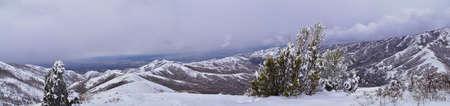 Little Black Mountain Peak hiking trail snow views winter via Bonneville Shoreline Trail, Wasatch Front Rocky Mountains, by Salt Lake City, Utah. United States.