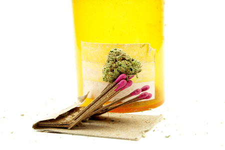 dope: Marijuana and Cannabis Legalization, Objects on White Background, Medical and Recreational Weed Stock Photo