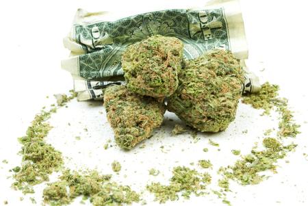dope: Marijuana and Money  Stock Photo