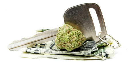 ganja: Marijuana and Cannabis Legalization, Objects on White Background, Medical and Recreational Weed Stock Photo
