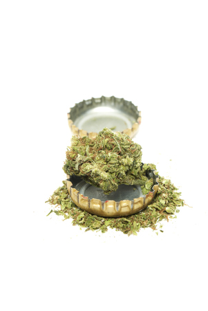 Marijuana  and Alcohol, Objects on White Background, Medical and Recreational Weed photo