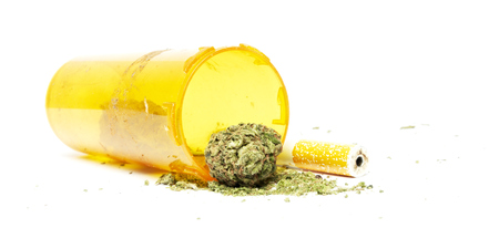 Marijuana and Cannabis Legalization, Objects on White Background, Medical and Recreational Weed photo