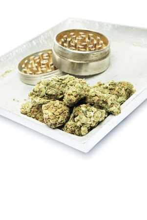 Marijuana and Cannabis Legalization, Objects on White Background, Medical and Recreational Weed Standard-Bild