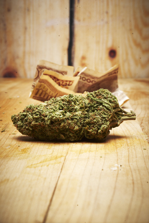 Marijuana and Cannabis Buds and Money, Drug Business American and Foreign Currency Stok Fotoğraf