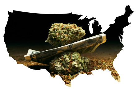 bud weed: Marijuana and Money, Cannabis Buds and US and Foreign Currency