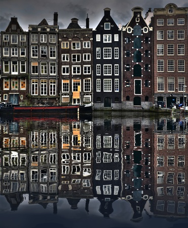 amsterdam canal: Typical houses in Amsterdam Stock Photo